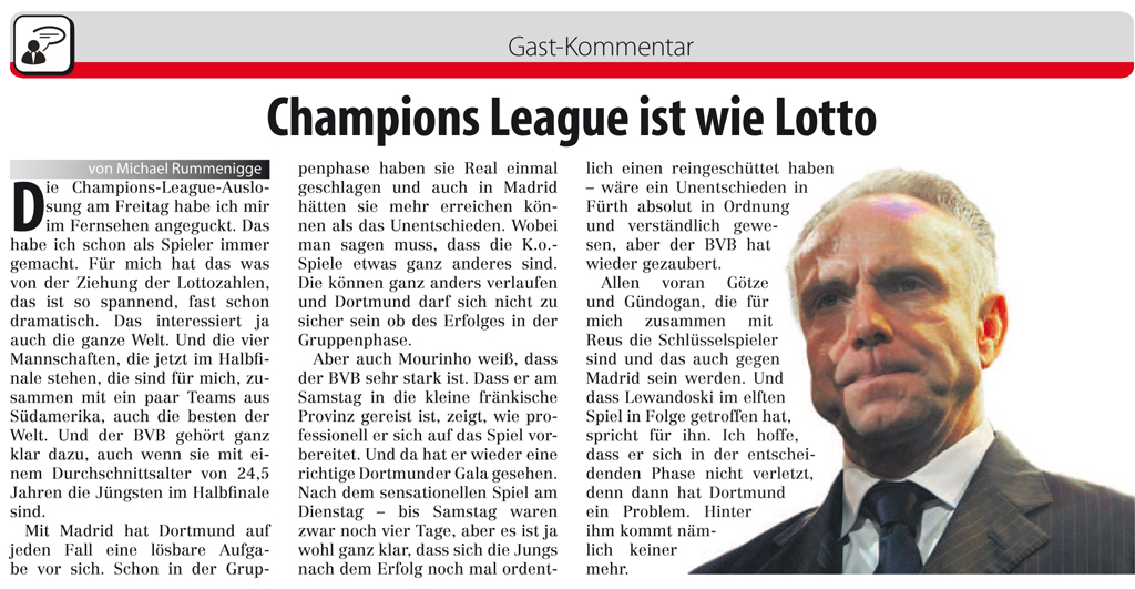 Champions League ist wie Lotto – Gastkommentar