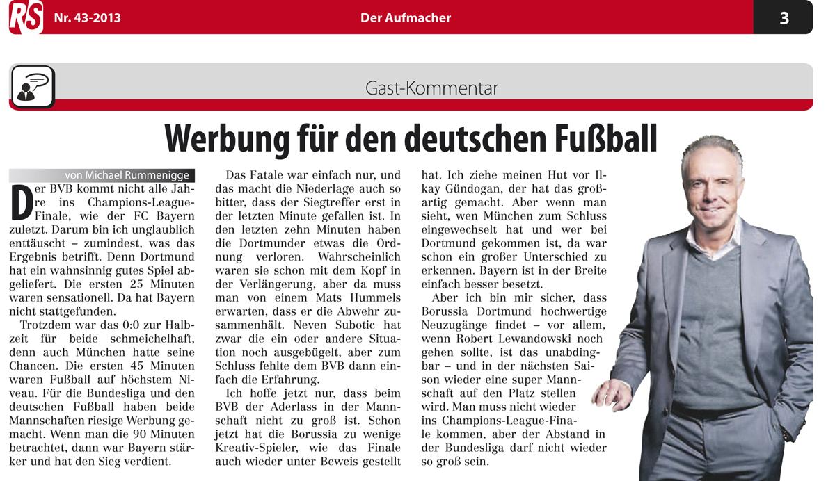Werbung für den deutschen Fussball – Gastkommentar