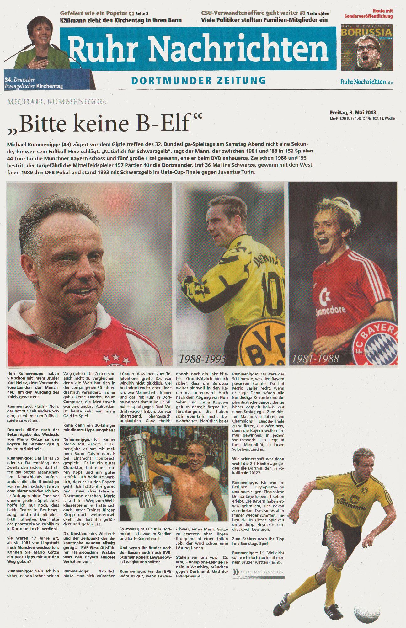 """Interview aus der RuhrNachrichten-Beilage """"Borussia"""" vom Freitag, 03. Mai 2013"""
