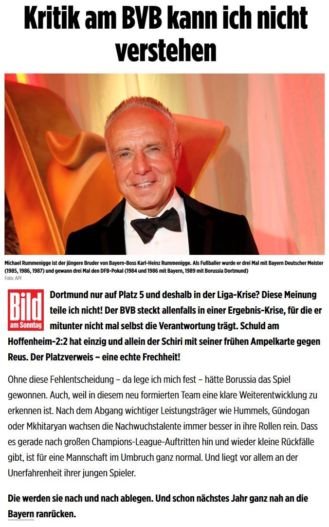 Kritik am BVB kann ich nicht verstehen – BAMS-Gastkommentar von Michael Rummenigge