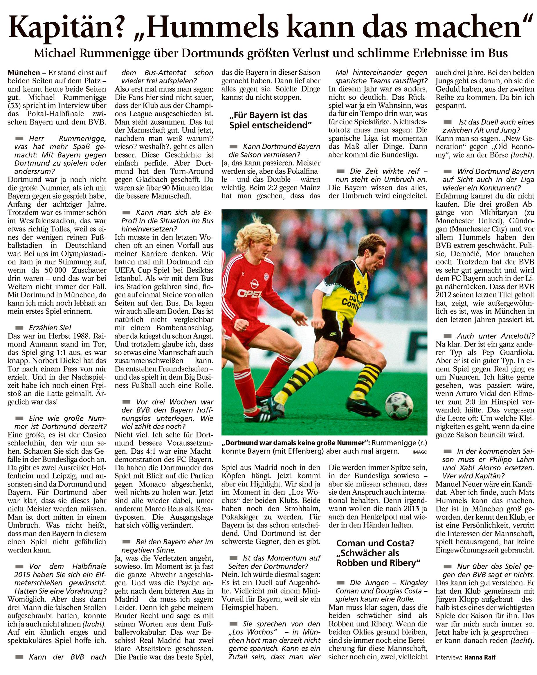 Interview mit Michael Rummenigge im Münchner Merkur zum Pokalhalbfinale-Klassiker 2017