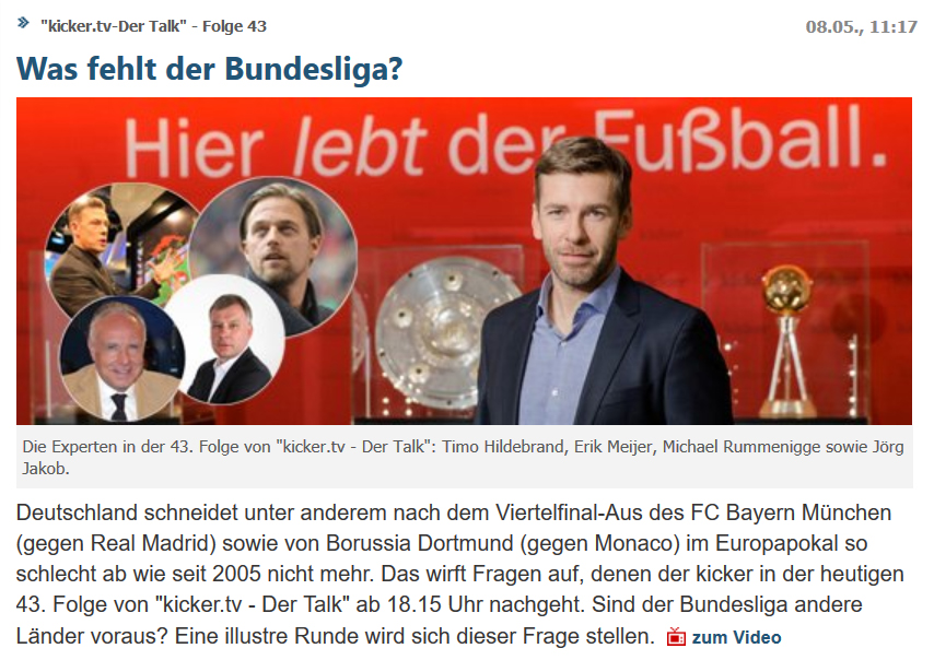 """Michael Rummenigge zu Gast bei """"kicker.tv – Der Talk"""""""