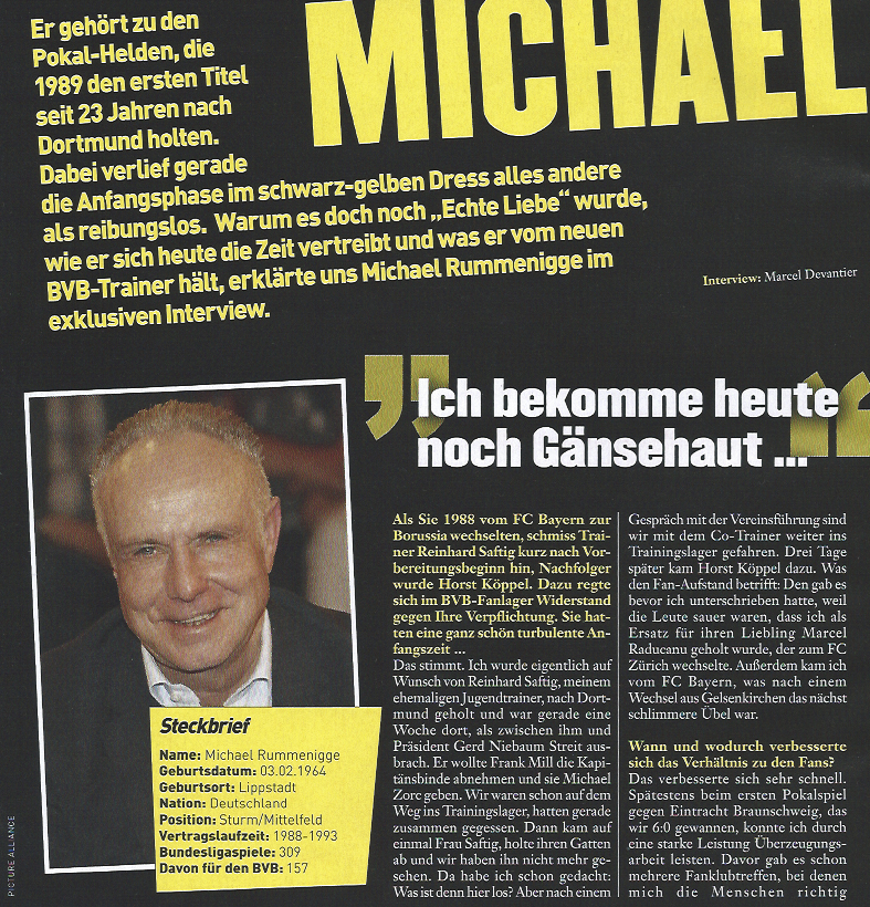 Michael Rummenigge Interview in der aktuellen Fussball Magazin Spezial Borussia Dortmund