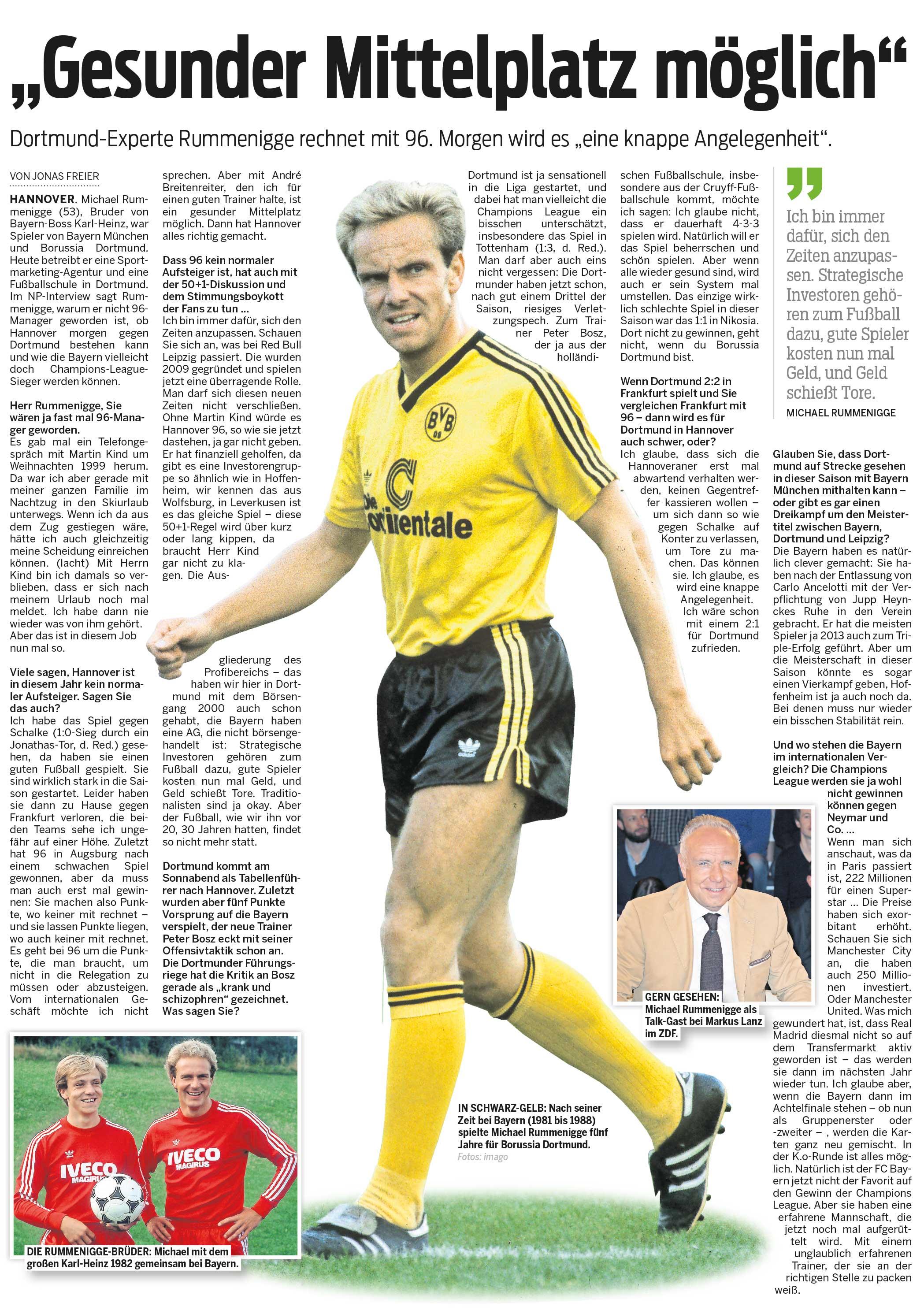 Gesunder Mittelplatz möglich – Interview in der Neuen Presse Hannover
