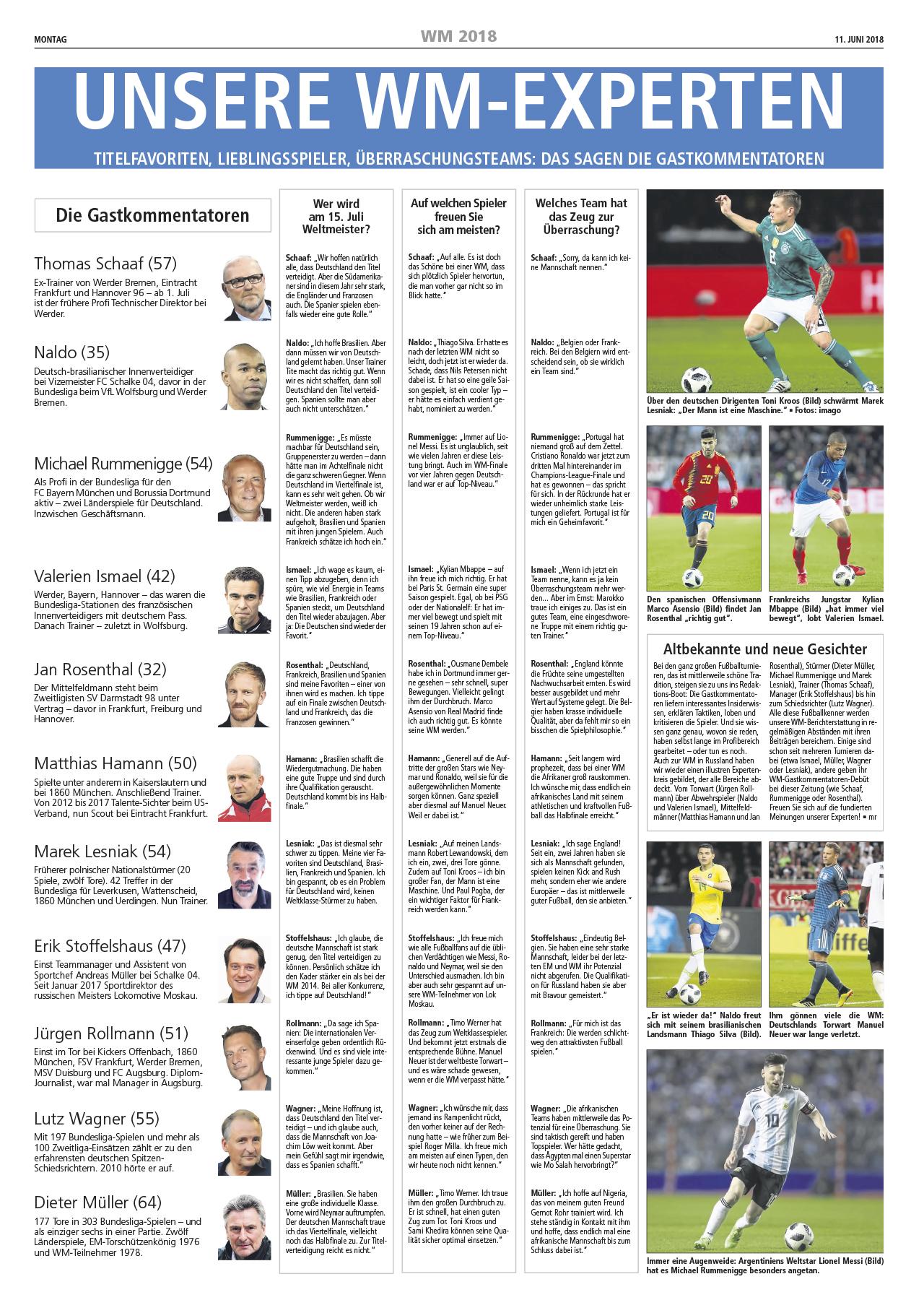 Michael Rummenigge als WM Experte im Westfaelischen Anzeiger