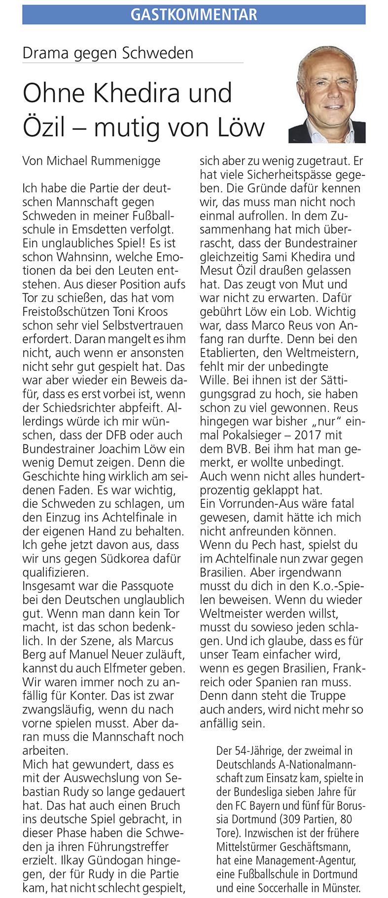 Mutig von Löw – Gastkommentar zum WM-Gruppenspiel Deutschland gegen Schweden