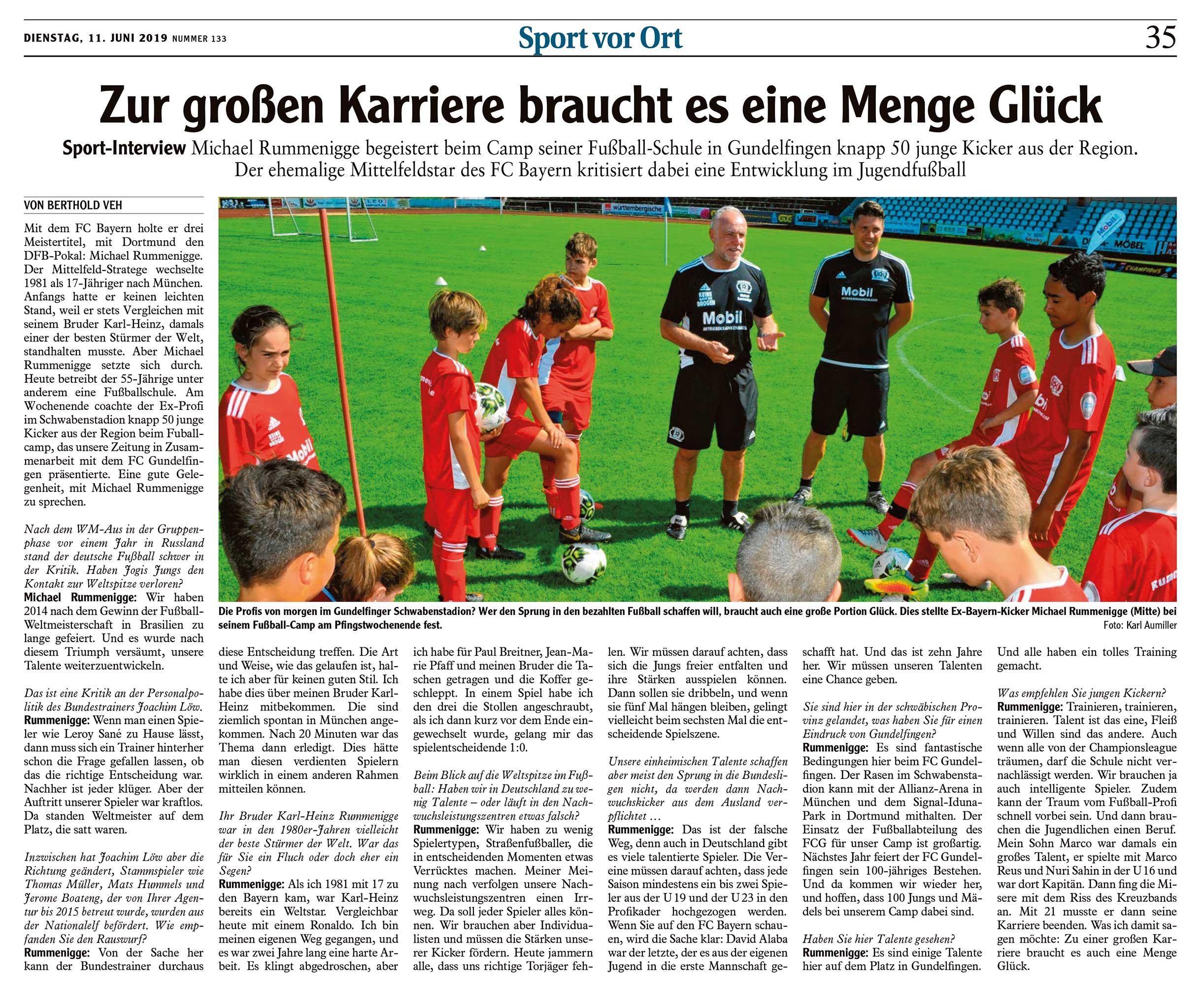 Interview mit Michael Rummenigge zum Camp seiner Fussballschule in Gundelfingen und der Entwicklung im Fussball allgemein