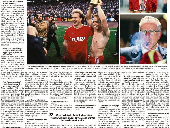 Interview mit Michael Rummenigge zum 65. Geburtstag von Bruder Karl-Heinz aus dem Münchner Merkur vom 25.09.2020