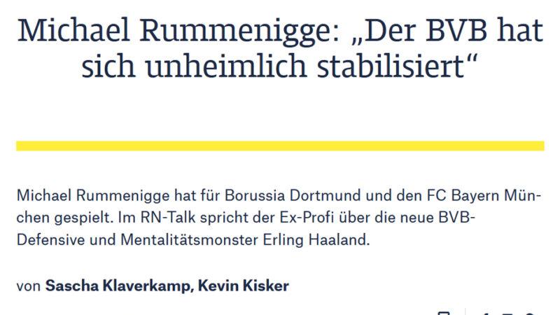 Talk in der RuhrNachrichten mit Michael Rummenigge vom 05.11.2020