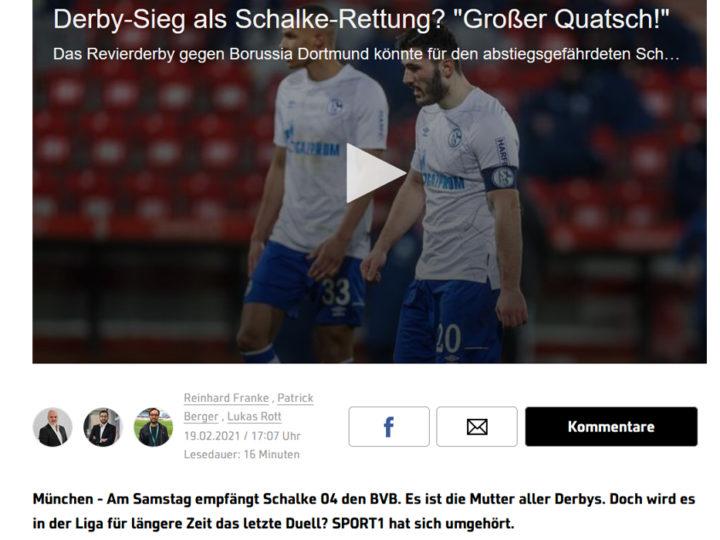 Sport1 Artikel mit u.a. Michael Rummenigge zum Revier Derby vom 19.02.2021